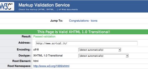 Schermata della validaizone W3C